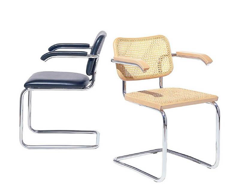 Bauhaus dwa różne wykończenia krzesła Cesca Chairs projektu Marcel Breuer z1928