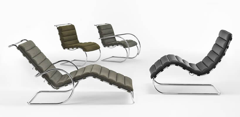 Bauhaus dwie wersje krzesła MR Collection projektu Mies van der Rohe