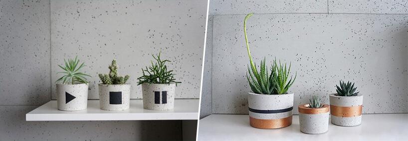 zestawienie betonowych doniczek