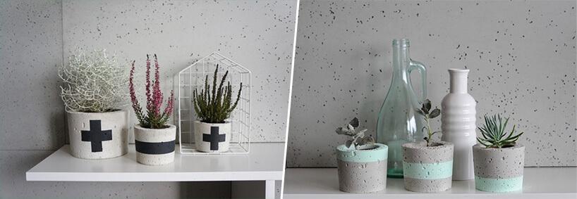 różnie pomalowane doniczki betonowe