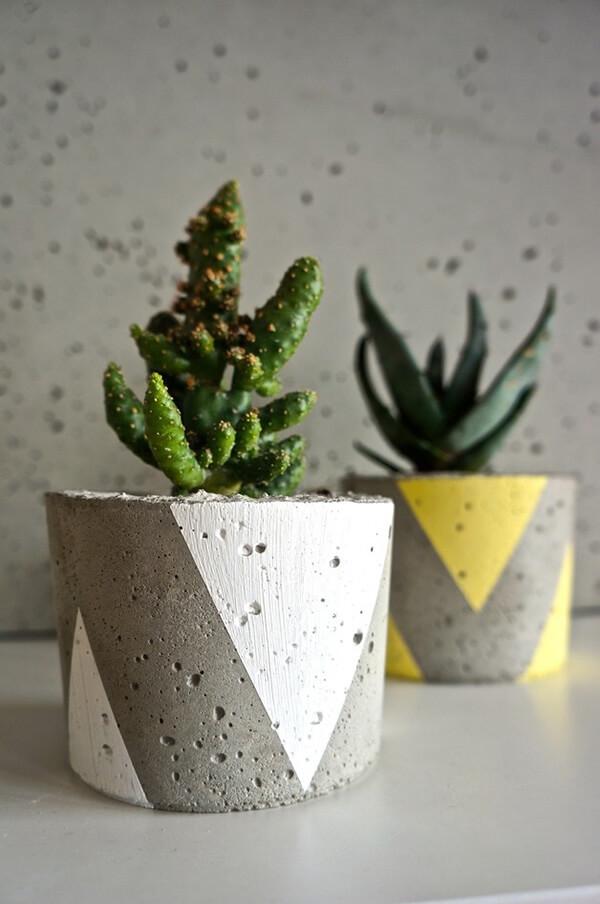 sukulenty wdwóch betonowych doniczkach