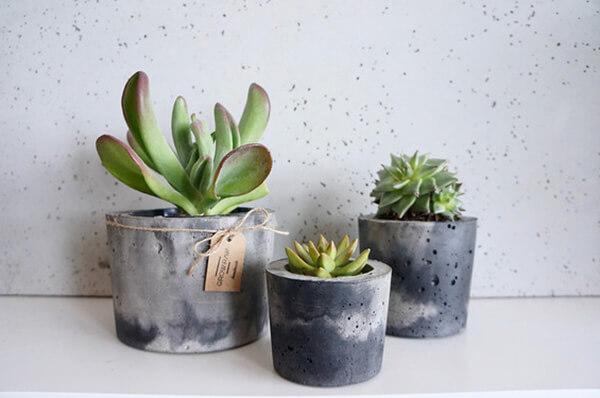 3 doniczki betonowe zsukulentami