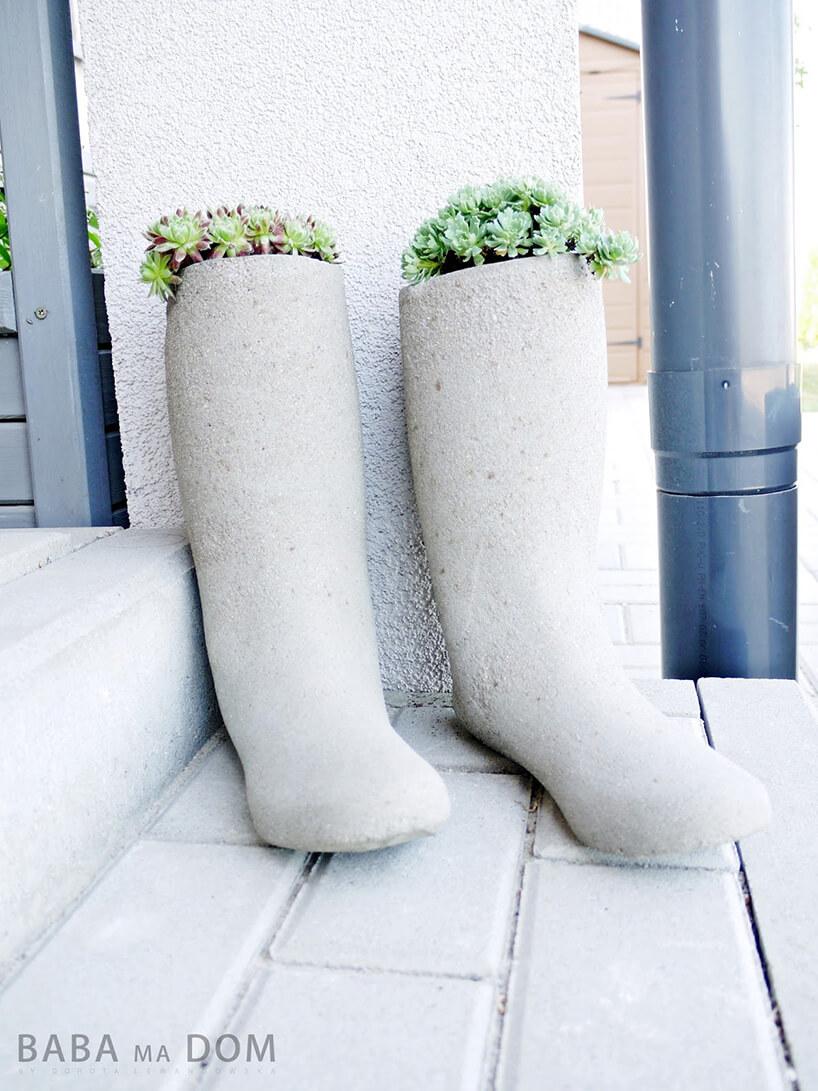 nietypowe betonowe doniczki