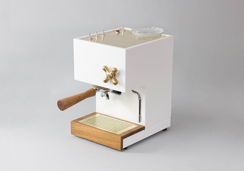 biało złoty ekspres do kawy od przodu