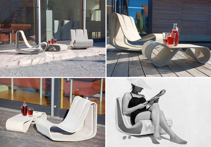 zestawienie betonowych foteli