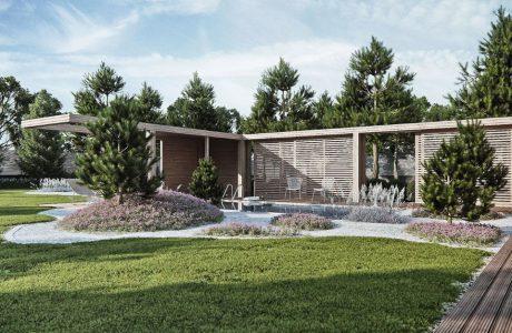 wizualizacja przestrzeni zgodnego z biophilic design od Studio.O. niski budynek pośród drzew
