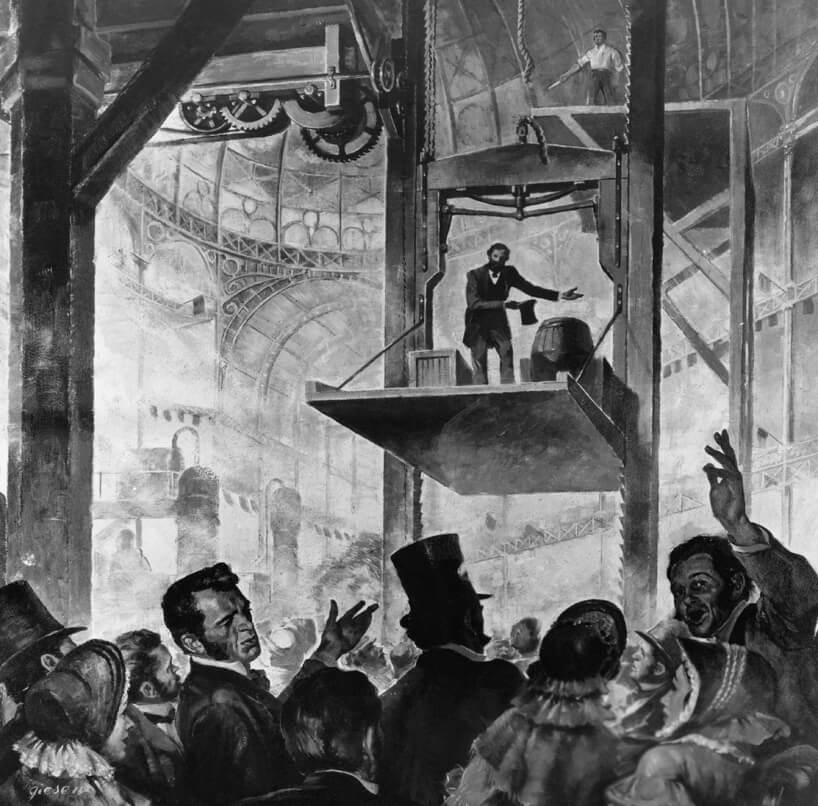 rycina pokazująca dźwig osobowy Elishy Otisa