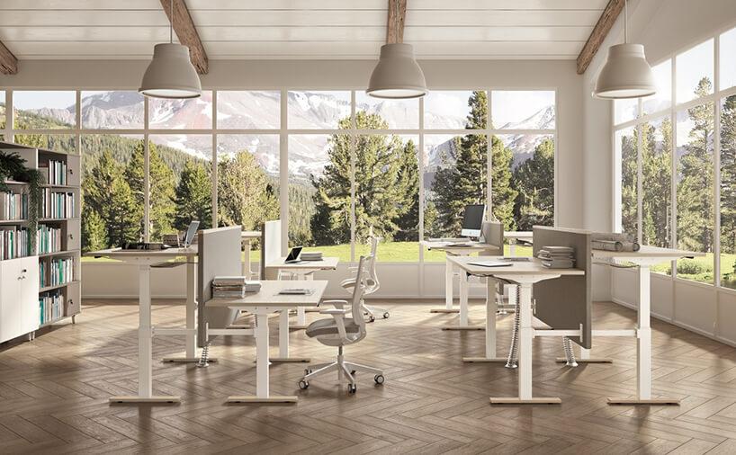 białe regulowane birka wopen space zdrewnianą podłogą iokna od podłogi do sufitu