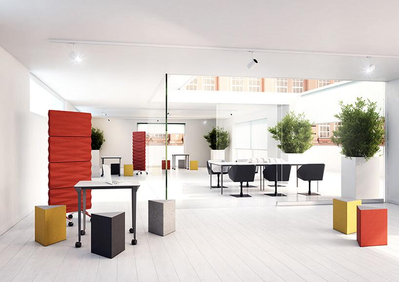 projekt open space zróżnokolorowymi meblami biurowymi VANK