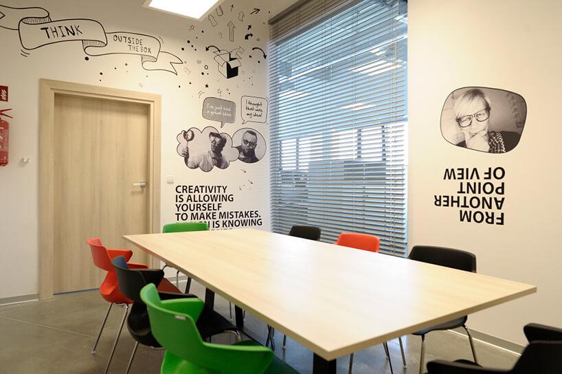 sala konferencyjna zkolorowymi krzesłami iróżnymi grafikami na ścianach