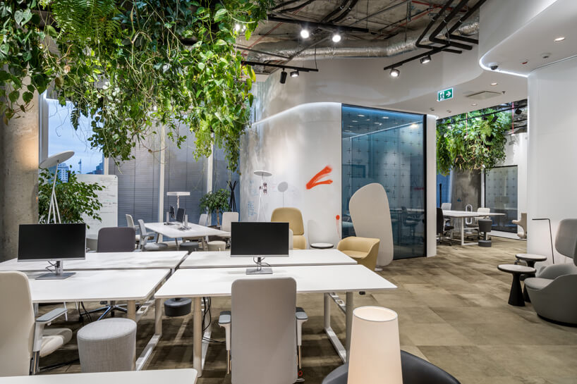 wnętrze biura RBL_ projektu Roberta Majkuta biały zaokrąglony box akustyczny open space zbiałymi biurkami pod zwisającymi roślinami