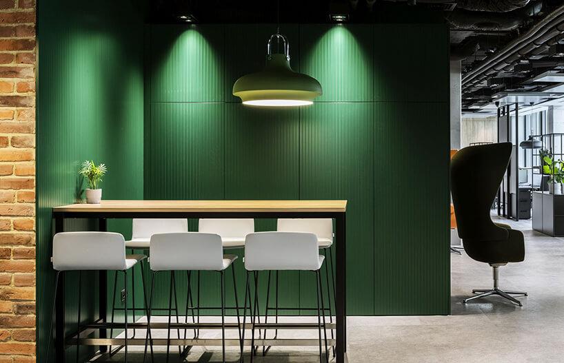 aranżacja biura Stalgast od MADAMA wysoki syolik zsześcioma białymi wysokimi stołkami na tle zielonej ściany
