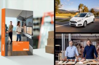 kompozycja graficzna Blum z katalogiem, samochodem firmowy i prezenterami