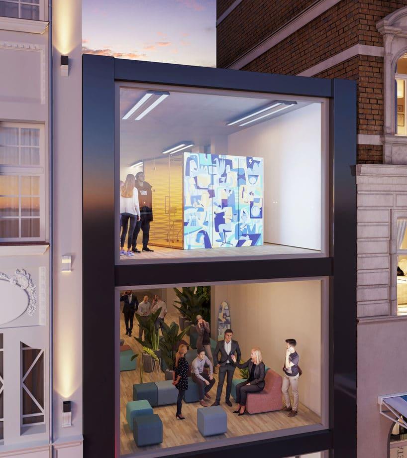 boks akustyczny WALL_GRAPHIC_LIGHT od VANK na wizualizacji przeszklonego dwupoziomowego budynku