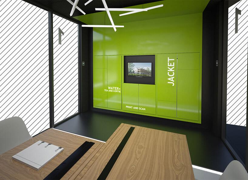 zielona ściana zdużych elementów przy stole