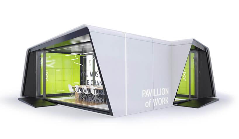 szary box zszklanymi ścianami izielonym wnętrzem