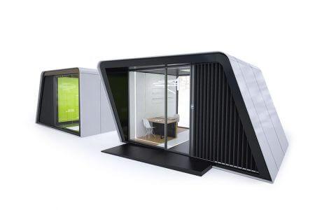 szaro-czarny metalowy box z dużym oknem i zielonym wnętrzem