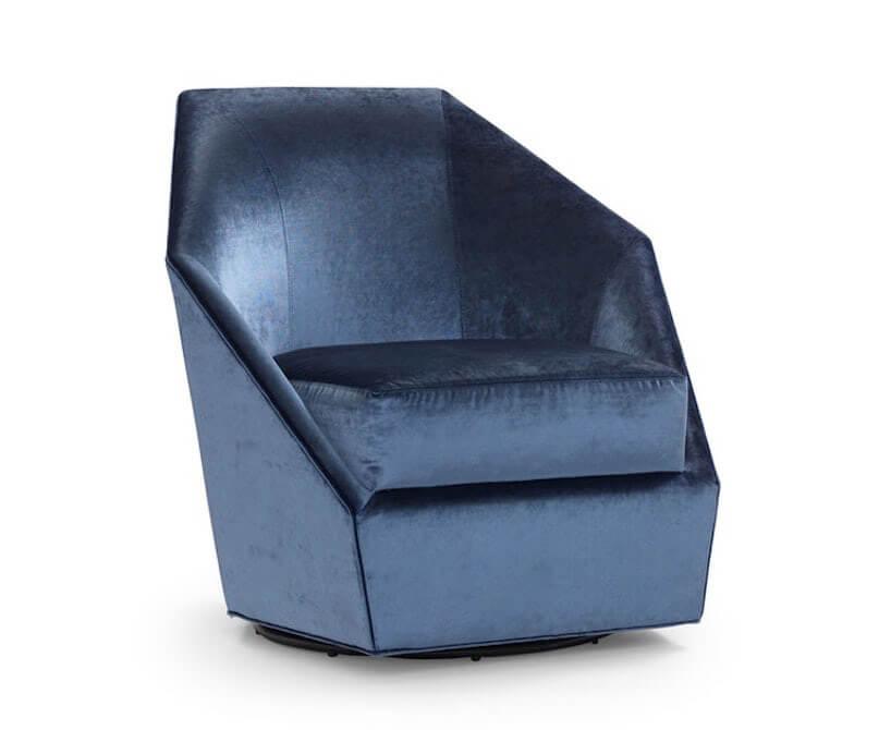 niebieski aksamitny fotel
