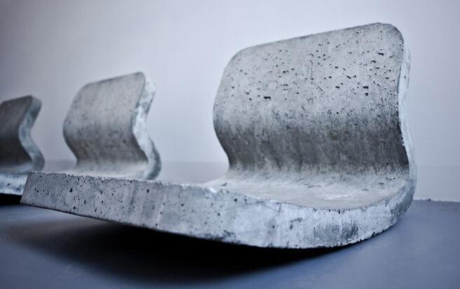 3 betonowe bujane fotele