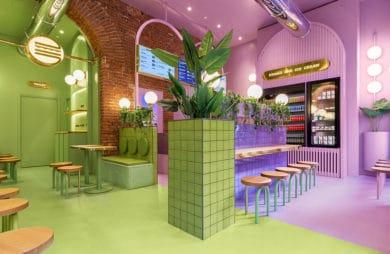 Burgery w krainie lawendy: kolorowy projekt włoskiej burgerowni