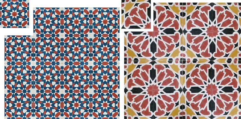 dwa wzory kafli cementowych motywy kwiatowe