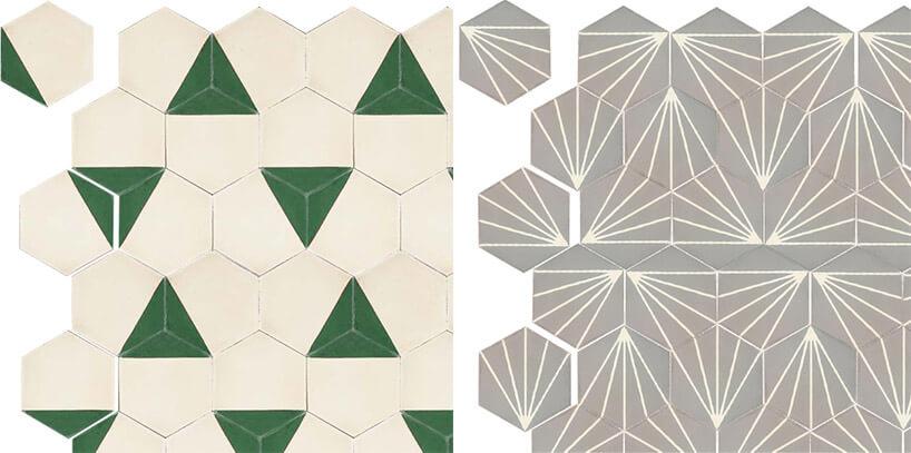 dwa wzory sześciokątnych kafli cementowych geometryczne