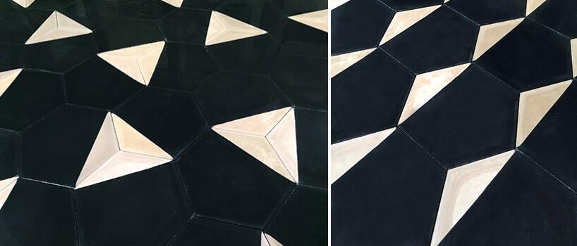 czarno-kremowe wzory kafli cementowych