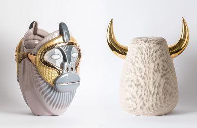 ceramiczne pojemniki z małpą