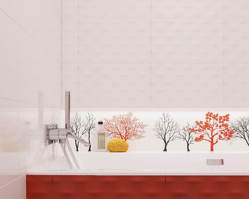 białe płytki przestrzenne VEO2 od Ceramika Paradyż waranżacji łazienki nad motywem drzew