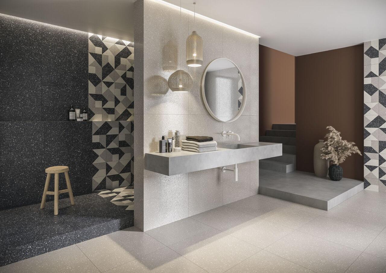 kremowo-brązowa łazienka zgeoemtrycznymi kafelkami ceramika paradyż