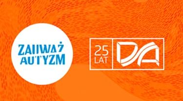 dwa logotypy na pomarańczowym tle Zauważ Autyzm