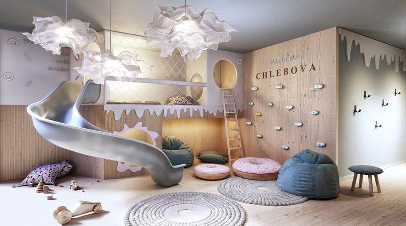 nowoczesny apartamentowiec Chlebova wGdańsku kącik dla dzieci ze zjeżdżalnią iścianką wspinaczkową