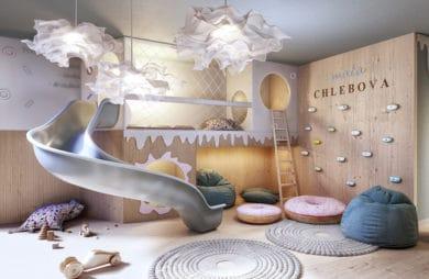 nowoczesny apartamentowiec Chlebova w Gdańsku kącik dla dzieci ze zjeżdżalnią i ścianką wspinaczkową