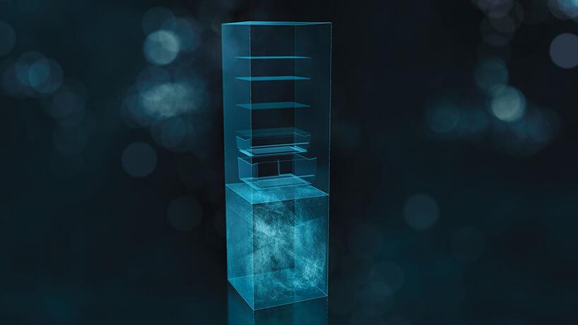 wizualizacja obiegu powietrza wnowoczesnej chłodziarko-zamrażarka Siemens Zero-waste