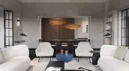 salon zbetonowymi ścianami oraz jasnym umeblowaniem zotwartą przestrzenią na jadalnie