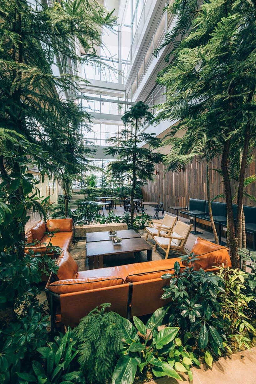 jasno brązowe wnętrze przestrzeni co-livingowej pomarańczowe sofy wokół dwóch brązowych stolików iwszystko otoczone roślinami