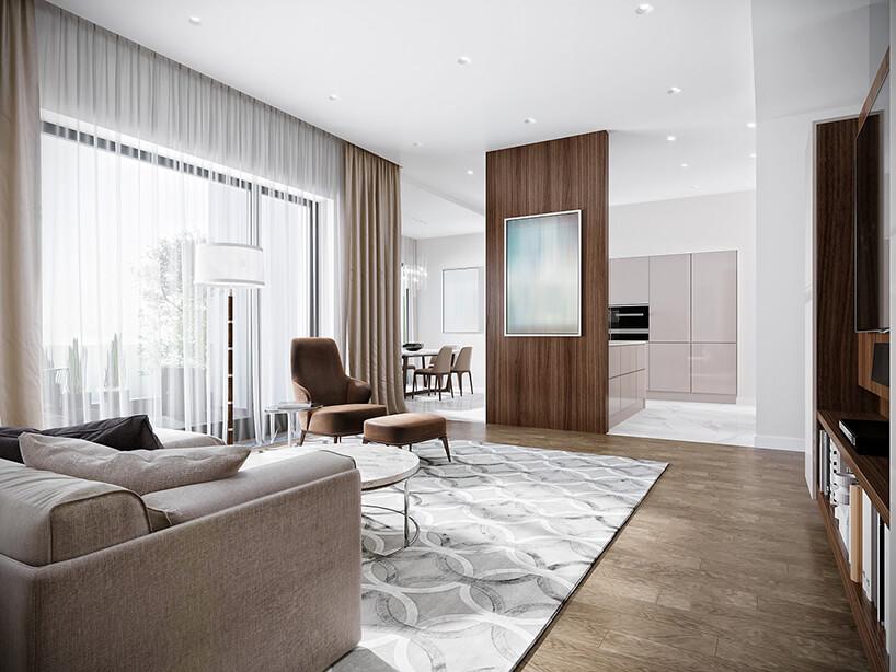 elegancki salon zciemną drewnianą podłogą zjasnym dywanem zbrązowym fotelem zpodnóżkiem na tle wysokiego okna