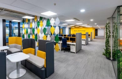 żółto-zielone krzesła w biurze