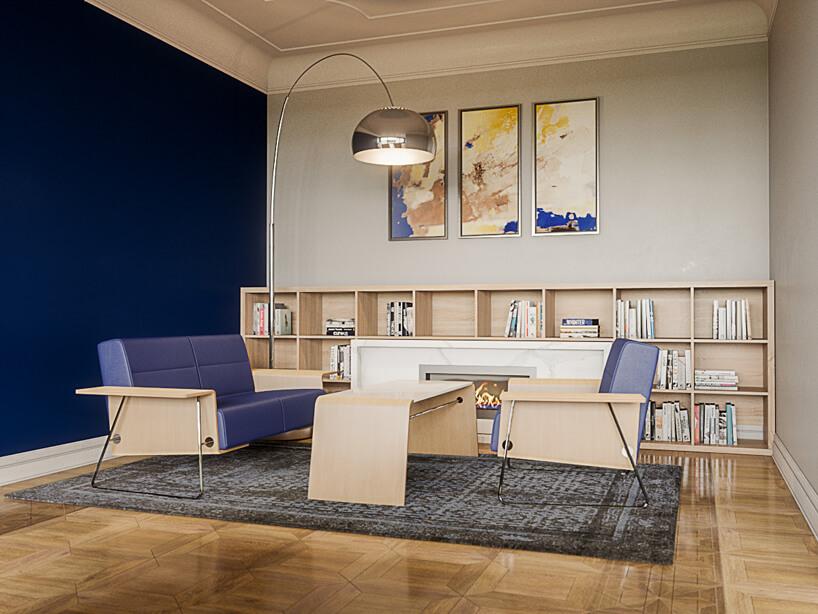 aranżacja biura od Consido wniebieskim ibeżowym kolorze zdrewnianą podłogą
