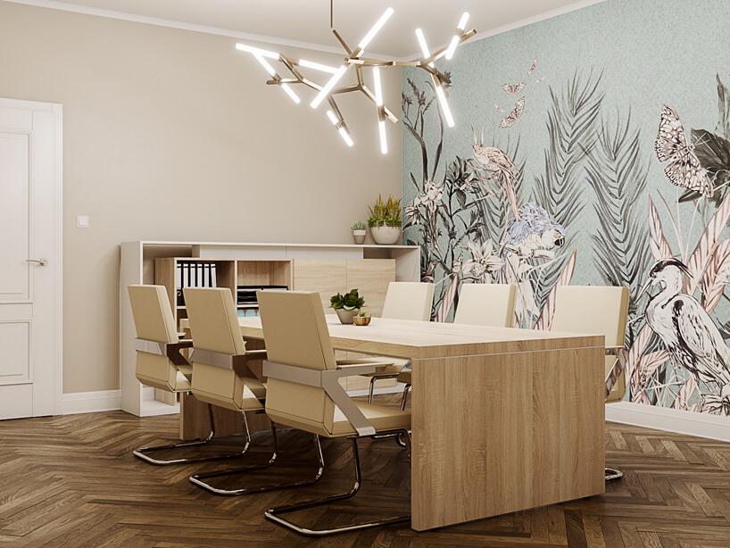 mała sala konferencyjna wdrewnie znowoczesnym oświetleniem od Consido