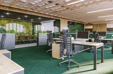 open space od Consido w drewnie i zielonym kolorze