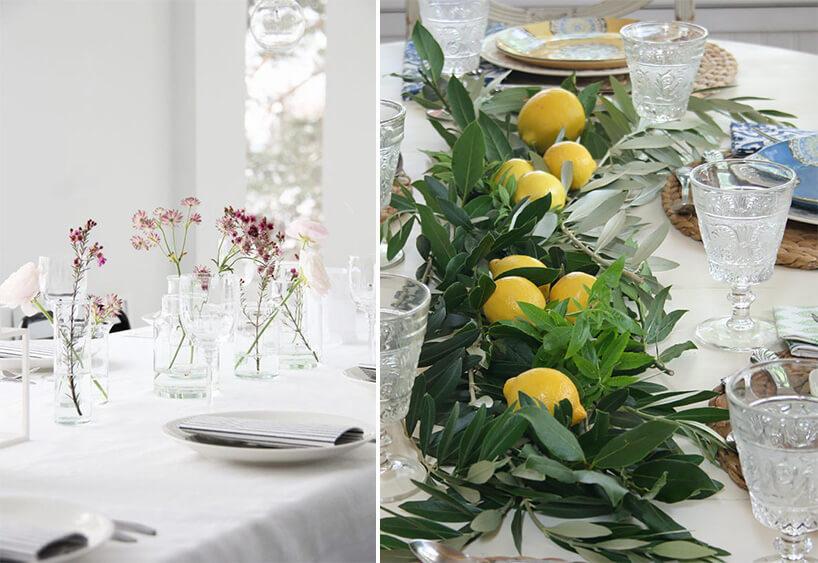 dekoracja stołu zcytryn iich liści