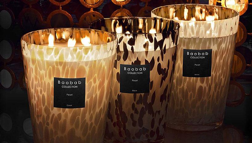 trzy duże świece zapachowe wcętki