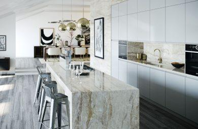 otwarta nowoczesna jasna kuchnia w kamieniu z białymi frontami