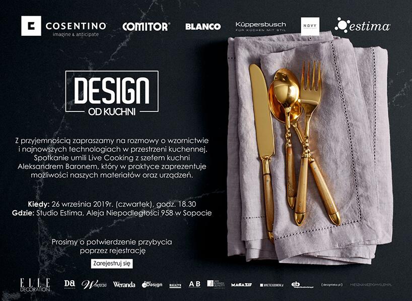 czarne zaproszenie na spotkanie Design od kuchni wSopocie