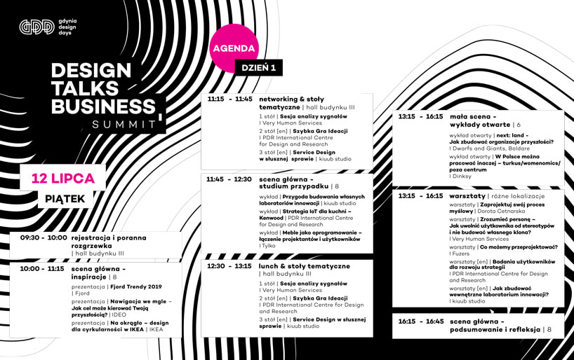 Design Talks Business Summit na Gdynia Design Days 2019 program 1