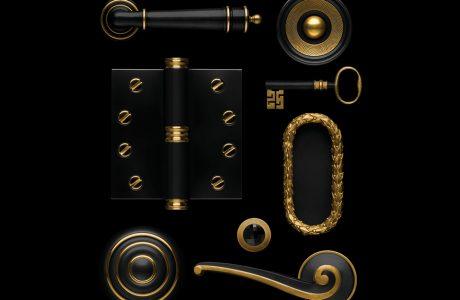 czarno-złote ekskluzywne klamki, klucze, zawiasy, gałki do drzwi i dzrwiczek