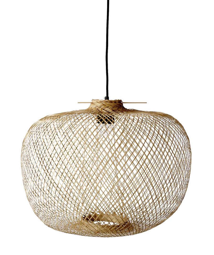 ręcznie pleciony owalny klosz lampy Bambou Naturel