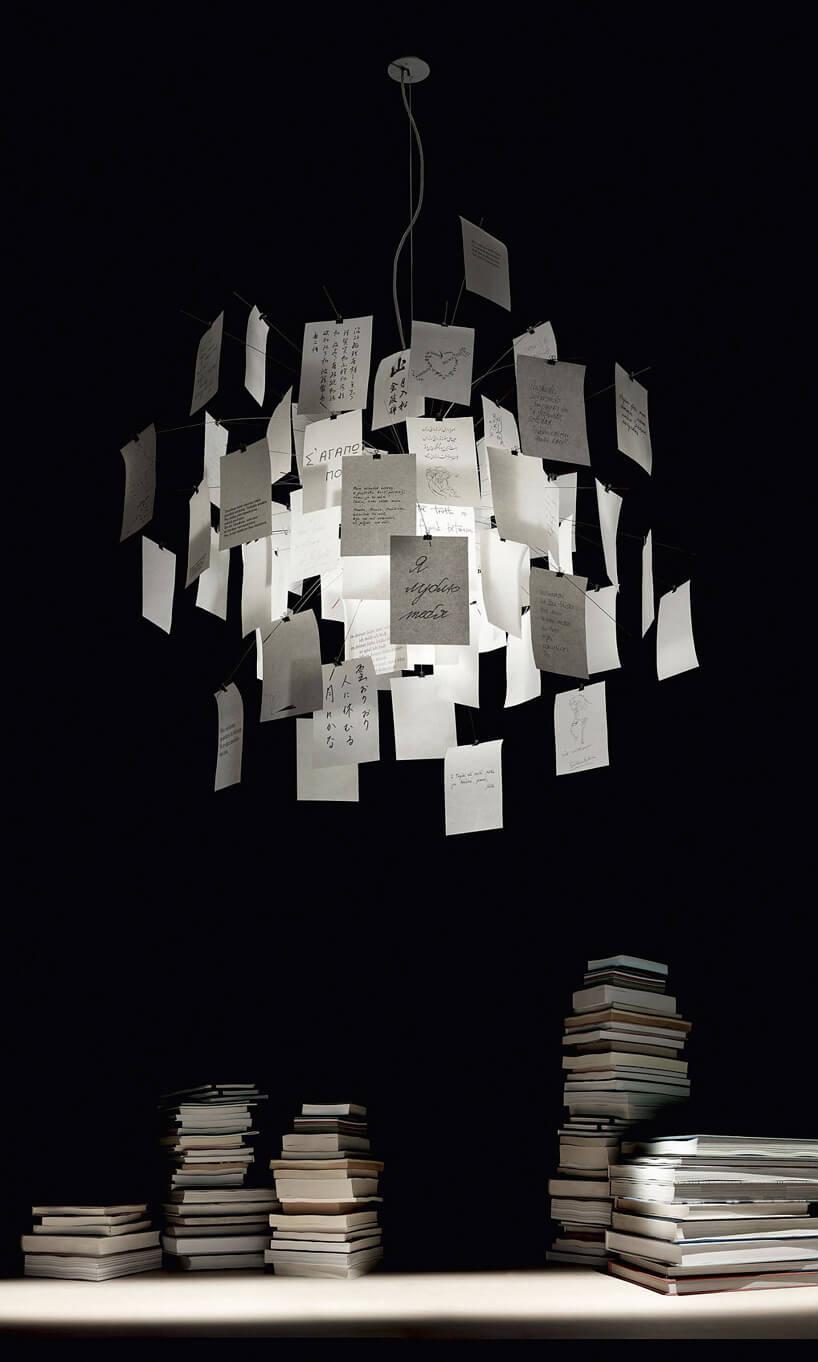 wyjątkowa lampa Zettel'z 5 zkloszem zbiałych zapisanych karteczek
