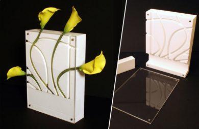 nes - nietypowy biały wazon na cięte kwiaty